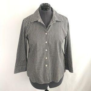 Talbots Black & White Checkered Blouse Top